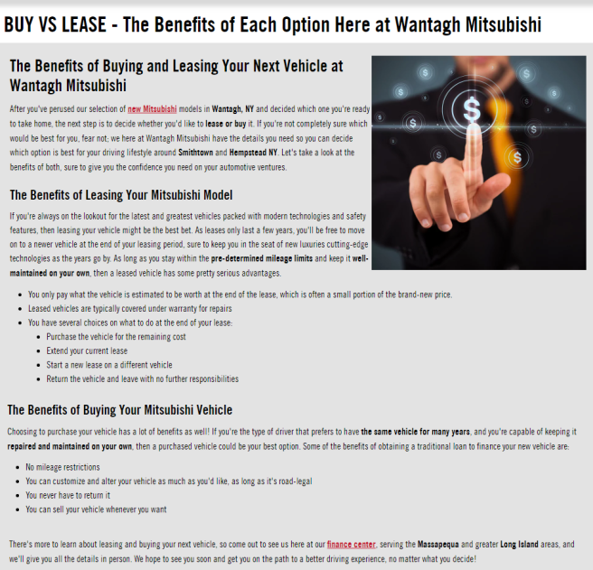 BUY VS LEASE - The Benefits of Each Option Here at Wantagh Mitsubishi
